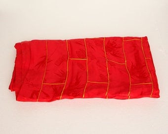 N4078  Vintage Chinese Buddhism Eminent Monk Red Silk Kasaya & Zitan Wood Buckle