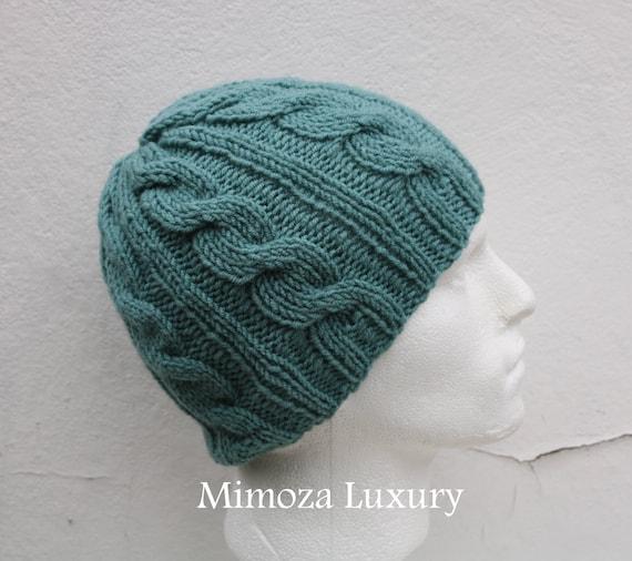 Pastel Green Men's Beanie hat, Hand Knitted Hat in pastel green beanie hat, knitted men's, women's beanie hat, winter beanie, green ski hat