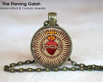 SACRED HEART Pendant •  Sacre Coeur •  Flaming Heart •  Jesus Christ •  Catholic •  Christian Jewelry •  Made in Australia (P11487)
