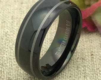 8mm Tungsten Wedding Ring Personalized Engraved Tungsten Ring , Men's Wedding Ring, FREE ENGRAVING