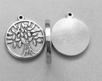 1 pendant round tree steel stainless 25x28mm