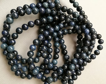 1 lot of 10 round beads 6 mm natural stone DUMORTIERITE