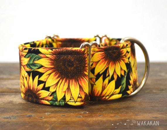 Martingale dog collar model Sunflowers. Adjustable and handmade with 100% cotton fabric. flowers, summer time Wakakan