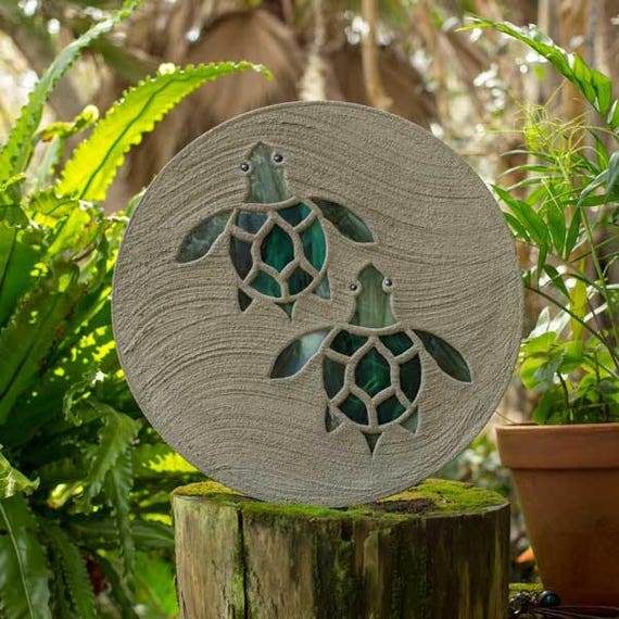 "Baby Sea Turtles Hatchlings Stained Glass Stepping Stone 18"" Diameter Perfect for Garden Patio or a Path to Your Back Yard Fish Pond #795"