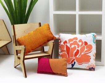 3 Pillow Set - Miniature Modern decor - Big Bloom