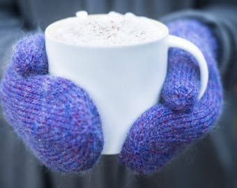 Classic knit mittens - hand knit in purple wool for adult women or men in small, medium and large