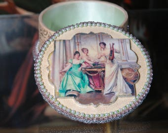 "Antique and Vintage Looking Decoupage Jewellery box. ""Singing Ladies in Silk crinolin"""