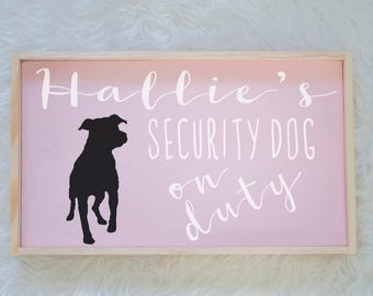 Pitbull Silhouette Painted Wood Nursery Sign, Kids Room Sign, Security Dog, Guard Dog on Duty, Kids Room Decor, Dog Decor, Baby Room Decor