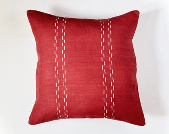 Linen Pillow Cover | Double Parallel Lines | Red