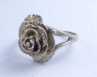 Fabulous Silver Rose ring - Fully hallmarked 1977 ?