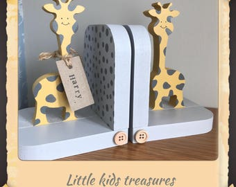 Chunky wooden freestanding giraffe bookends by little kids treasures. Option of personalised name tag