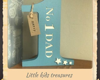 No 1 dad chunky wooden Father's Day gift by little kids treasures. Free personalised name tag