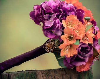 Bright Autumnal Wedding Bouquet - Purples and Oranges