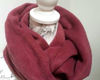 Fleece Infinity Scarf - Deluxe Fleece Infinity Loop Scarf , Neckwarmer Cowl Scarf ,Winter Fleece scarf  Plain Raspberry Pink