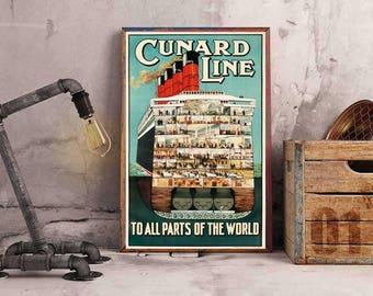 Cunard Line, Titan of the Seas, Vintage Poster, Advert, ArtHangar, Travel Poster, Giclée, Print. Posters, Retro