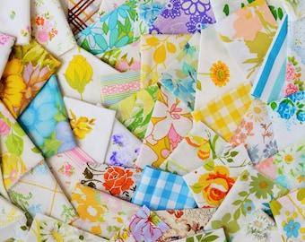 12 oz.  MULTI Color. Vintage Sheet Scrap Fabric Bundle. Stash Builder. Floral. Upcycle. Destash. Retro. Quilt Top Kit. Scrap Pack 07.
