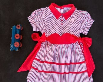Vintage Red and White Stripped Dress - size 2 - c1950