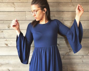 Empire Waist Bell Sleeve Navy Midi Dress