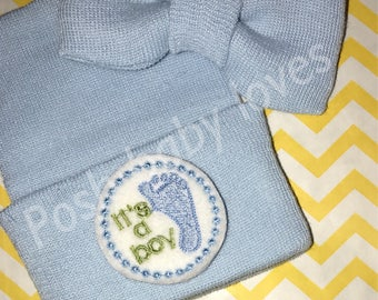FLaSH SaLE Blue Newborn Baby Boy Bow Tie.  Blue Newborn Hospital Hat with It's a Boy! Great Gift.
