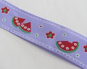 Pretty purple and Red watermelon and flower pattern Ribbon