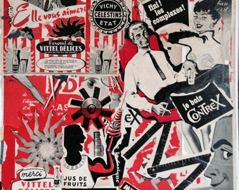 """""""FINISHED COMPLEXES"""" COLLAGE ON CANVAS VINTAGE FRENCH ADS"""