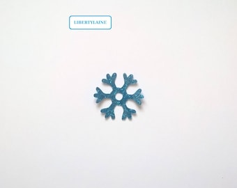 Applied shaped snowflake 3 CM turquoise blue glittery star fusible