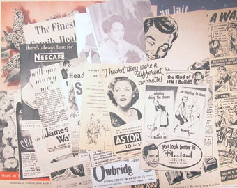 Vintage 1950s  advert pack: 20 original vintage magazine adverts. Paper ephemera for scrapbook, collage, decoupage, journaling AD26