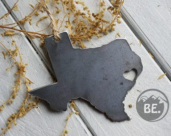 Houston Texas Ornament Rustic Raw Steel TX State Metal State Heart Christmas Tree DecorHost Gift Keepsake Travel Wedding Favor  BE Creations