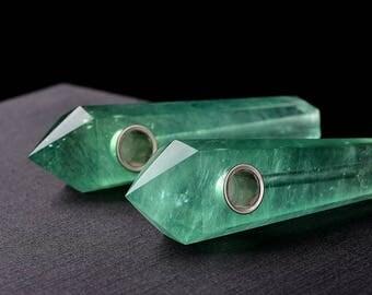 Natural Green Fluorite Pipe Crystal Quartz Pipe Gemstone Pipe Stone Pipe Sparkle Pipe Cute Pipe Quartz Pipe P23