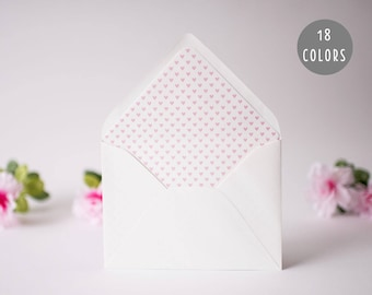 mini hearts lined envelopes (18 color options) - sets of 10 // modern envelope liners wedding shower party invitation invite