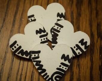 White Heart Wood Pin w/ Mudcloth Print