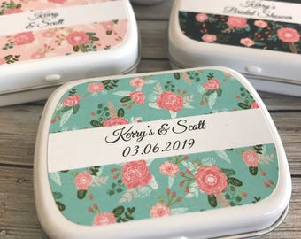 Floral design personalised mint tin wedding favours
