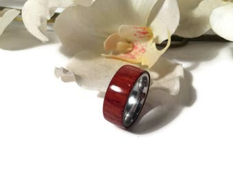 Handmade Exotic Padauk Wood And Stainless Steel Wedding Ring, Promise Ring, Anniversary