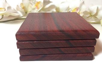 Handmade Padauk Wood Coasters Set Of 4