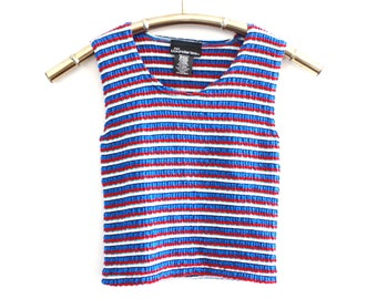 90's Red White and Blue Striped Cropped Tank Top M