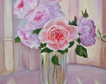 Oil Painting Roses In a Vase Original Artwork Floral Home Decor Wall Decor Wall Hanging Art Still Life 50x70cm