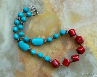 Coral and Turquoise Necklace, Blue Howlite, Red Coral,Turquoise Necklace, Red Coral Necklace, Womens Necklace, Woman Jewelry
