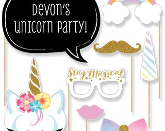 Rainbow Unicorn Photobooth Kit W/Custom Talk Bubble -Magical Unicorn Baby Shower or Birthday Photo Booth Props - 20 Unicorn Theme Props