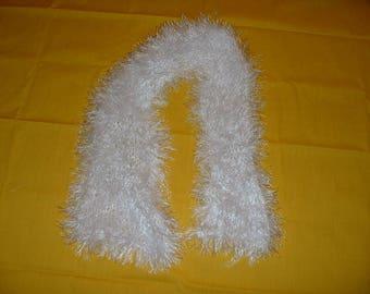 Crocheted Fun Fur Yarn SCARF - White