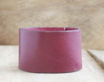 CUSTOM HANDSTAMPED wide burgundy wine leather cuff by mothercuffer