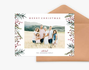 Christmas Card Template for photographers PSD Flat card - Christmas Card - Photoshop Template - CD071