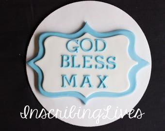 God bless plaque cake topper Christening fondant cake topper baptism edible fondant decorations first communion InscribingLives
