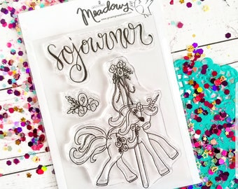 Sojourner Unicorn Carousel Mini Stamps Christian Scrapbooking Stamping Bible Journaling horse floral wanderlust Growing Meadows Tai Bender