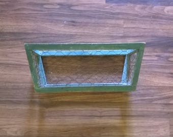Rustic Green and Chickenwire Wooden Basket