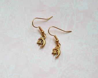 Earrings Moon & Star Gold