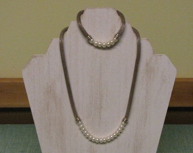 Mesh and Pearl Necklace and Bracelet Set Vintage Women's Jewelry and Accessories