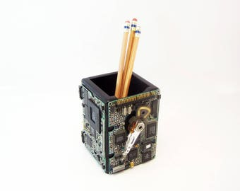 Computer pencil holder organizer. High tech decor techie gift office party gift geeky decor programmer engineer profession gifts industrial.