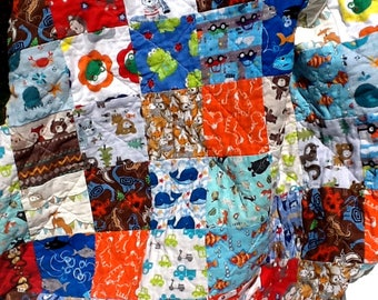 I Spy Baby Quilt, Toddler  Bedding, Child's Blanket, Animals, Sea Life, Cars, Dinos, Colorful, Fun, Unique Shower Gift, Patchwork Quilt