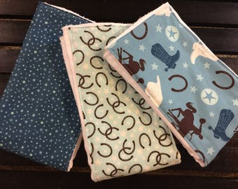 Western baby boy burp cloths in Rodeo Rider Round Up fabrics by Riley Blake on Oso Cozy diapers