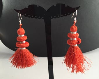 Earring collection rustle while sewing for woman or teen orange and silver thread unique